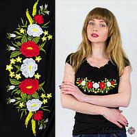 Праздничная вышитая женская футболка в черном цвете «рюшками с колокольчиками» S