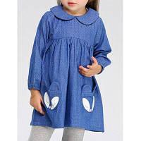 Синее платье в мелкий горошек для девочки с карманами-лисичками 80