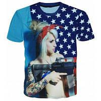 Повседневный пуловер круглым воротом девушки печать футболки для мужчин L