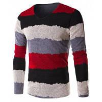 V-образным вырезом Сетка Сращивание цвет блока нашивки с длинным рукавом футболки для мужчин 3XL