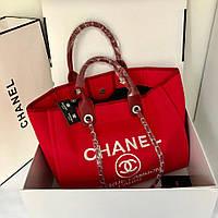 Женская сумка Шанель пляжная текстиль холст красный