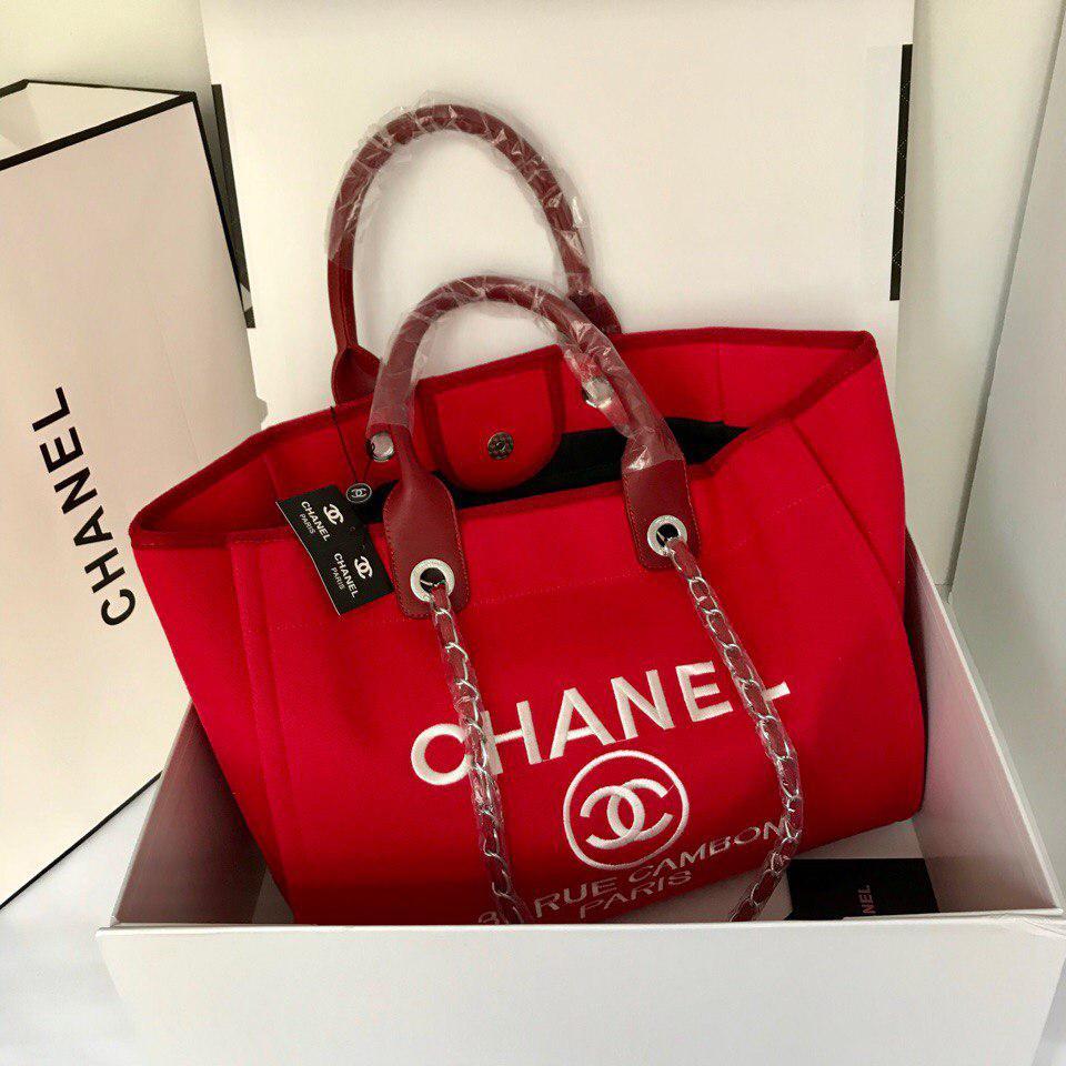 Женская сумка Шанель пляжная текстиль холст красный - Annashop.com.ua в  Одессе 68dcd118cca