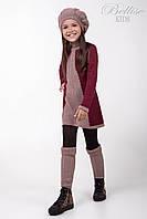 Модный детский комплект: вязаное платья, гетры, берет