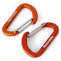 NatureHike 2шт D-образный прочный карабин (4 см) Оранжевый