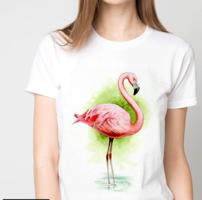 """Футболка женская белая с рисунком """"Фламинго"""""""