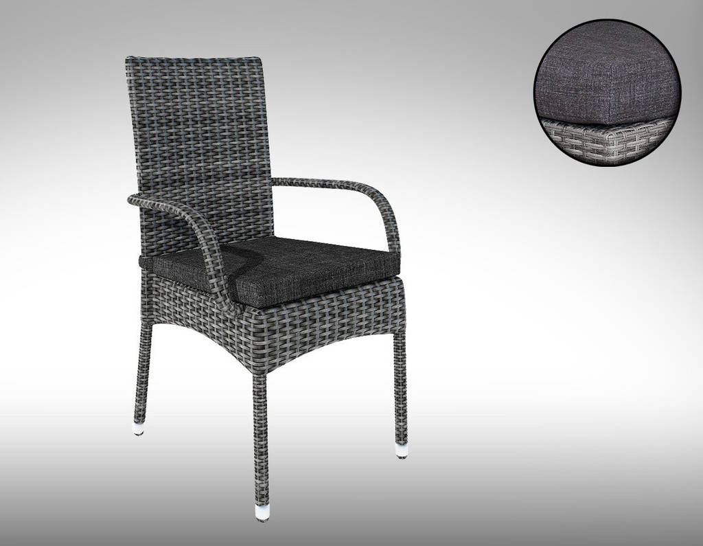 Стілець з підлокітниками  плетений  PICCIONE  GREY  NEW 58Х61Х94 см