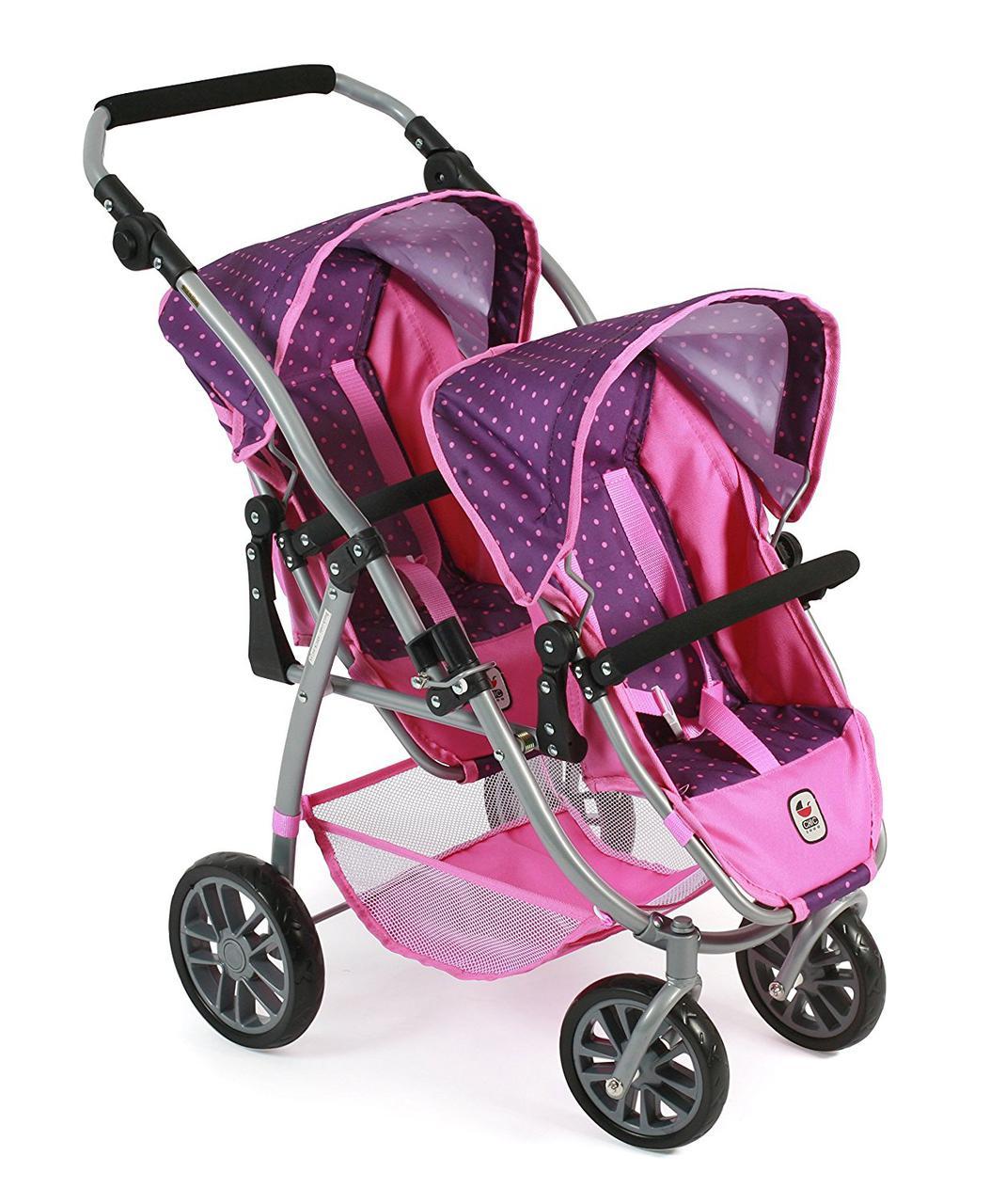 Коляска тандем для кукол для двойни фиолетово-розовая Байер Tandem-Buggy Chic 2000 Bayer 68940