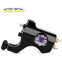 Solong Роторная татуировочная машинка пистолет из алюминиевого сплава с крюком для прямой иглы Чёрный