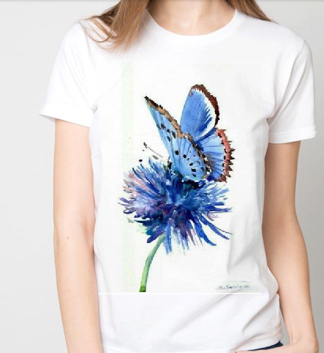 """Футболка жіноча біла з малюнком """"Метелик на квітці"""""""