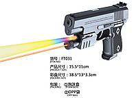 Пистолет пульки,батар.,лазер,свет, в п/э.18,5*13*3,3см /144-2/