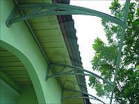 Готовый козырек, навес, дашок 1500*930*280 из прозрачного монолитного поликарбоната 3мм с зеленым кронштейном