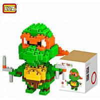 LOZ 200 шт M-9150 Черепашка-Ниндзя Микельанджело кубики Детская творческая игрушка Подарок для Мальчика / Девочки для развития воображения Зелёный