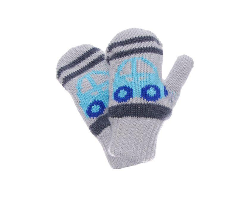 """Детские теплые красивые вязанные рукавички """"Автобус""""."""