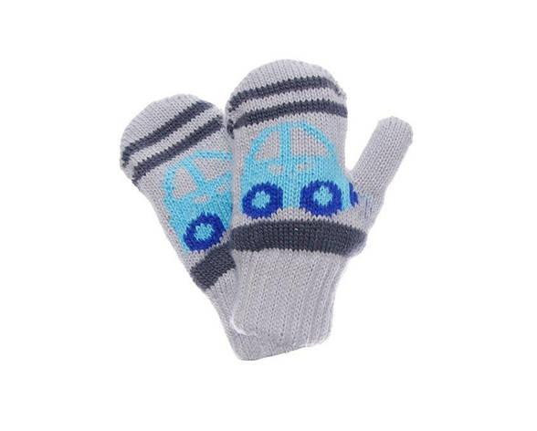 """Детские теплые красивые вязанные рукавички """"Автобус""""., фото 2"""