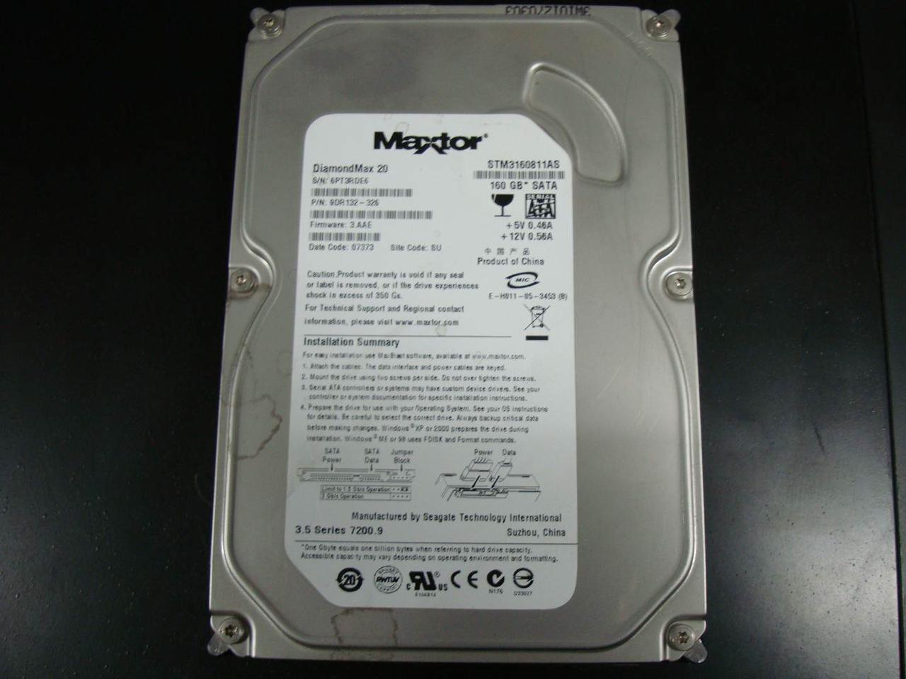 "Жесткий диск 3,5"" Maxtor 160GB SATA-II STM 3160811 AS 7200 RPM"