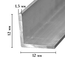 Профиль алюминиевый угловой 12*12*1,5 мм