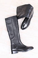 Сапоги женские демисезонные без каблука, материал - натуральная кожа, цвет - черный
