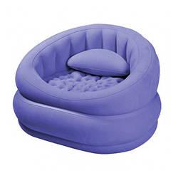Надувное велюровое кресло крісло Intex 68563, фиолетовое