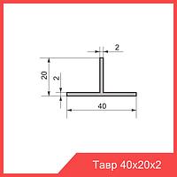 Тавр алюминиевый (Т-образный профиль) 40х20х2 мм |