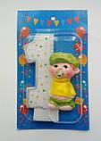 Свечка на 1 годик в торт для мальчика с мишкой 11*7, фото 2