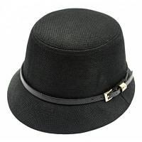 Шик пряжкой ремня Embellished Flat Top Hat Льняные Ковш для женщин Чёрный