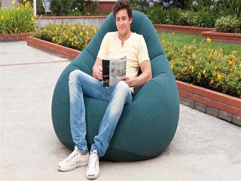 Надувное флокированное кресло крісло Intex 68583, зеленое