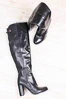 Сапоги женские на каблуке (деми), материал - натуральная кожа, цвет - черный