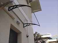 Готовый козырек, дашок 1500*930*280 из прозрачного монолитного поликарбоната 3мм с коричневыми кронштейнами
