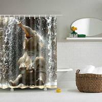 3D Слон дизайн mouldproof для Водонепроницаемый ванна душ занавес L