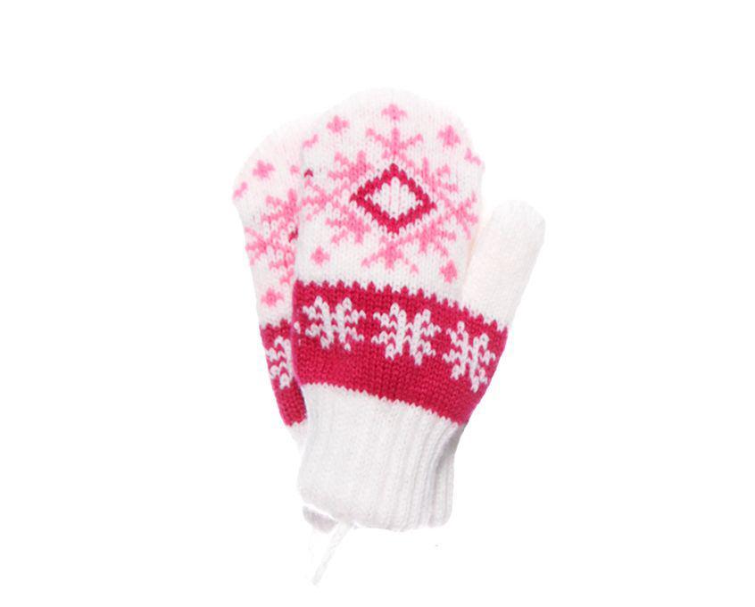 Дитячі теплі красиві в'язані рукавиці зі сніжинкою.