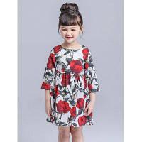 Короткое платье с цветочным принтом и рукавом 3/4 для девочки 100