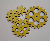 Набор шестеренок для  Бизиборда по методике Монтессори окрашены в желтый