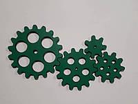 Набор шестеренок для  Бизиборда по методике Монтессори окрашеные Зеленые