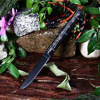 Складной нож из нержавеющей стали с ручкой из бамбука без блокировки Чёрный