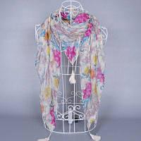 Легкий тонкий шарф с цветочным узором и кистями Бежевый белый