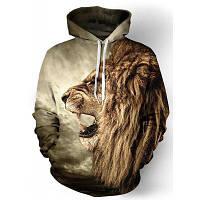 Cool 3D Лев печати Передний карман ребер Хем свободная посадка шнурок с капюшоном Длинные рукава Мужская толстовка с капюшоном M