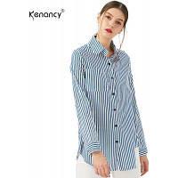 Кэнэнси Весна Летние женские хлопчатобумажные рубашки Блузка Полосатая рубашка Поворотный воротник свободные топы с длинными рукавами Женские блузки M