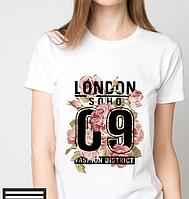 Футболки женские, Лондон, номер, цветы
