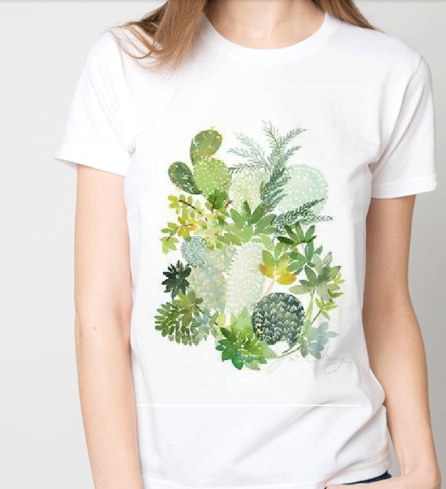 Футболка женская цветы кактусы
