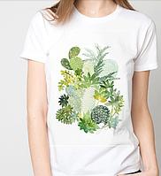 Футболки женские, цветы, кактусы
