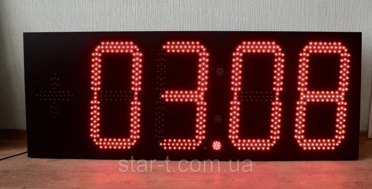 Большие фасадные светодиодные часы размером 1600х600мм.
