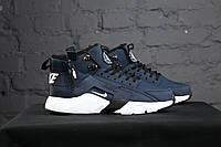 Кроссовки Nike Air Huarache - ACRONYM Original, темно - синие, материал - кожа, подошва - пенка