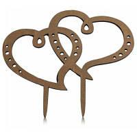 Двойное Сердце Свадебные Украшения Торт Вставленной Карты Чёрный