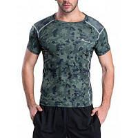 Быстросохнущая камуфляжная футболка с коротким рукавом для тренировок L
