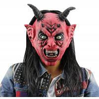 Ужас смешные Сатана Дьявол Латекс маска с парик рога быка Чёрный