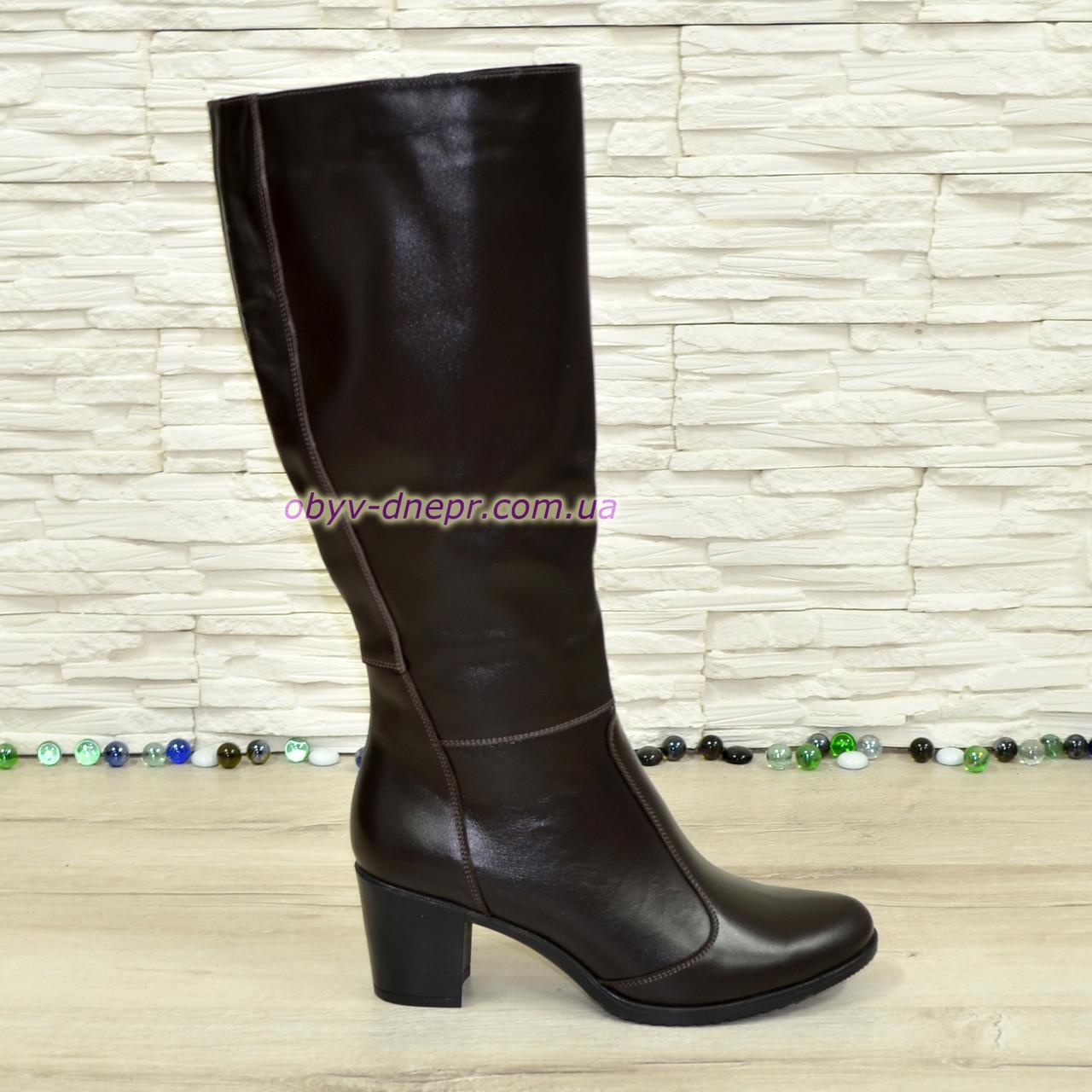 Сапоги коричневые кожаные женские на устойчивом каблуке, с широким голенищем.