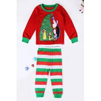 Нарядный детский костюм на Рождество и Новый год из лонгслива с наряженной елкой и полосатых штанов 100