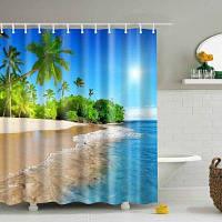 3D пляж Водонепроницаемый полиэстер ванна душ занавес L