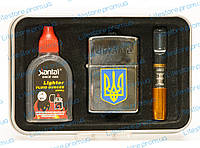PZ15-4927 ПОДАРОЧНАЯ БЕНЗИНОВАЯ ЗАЖИГАЛКА, Зажигалка в подарочной коробке, Зажигалка герб, Зажигалка Украина