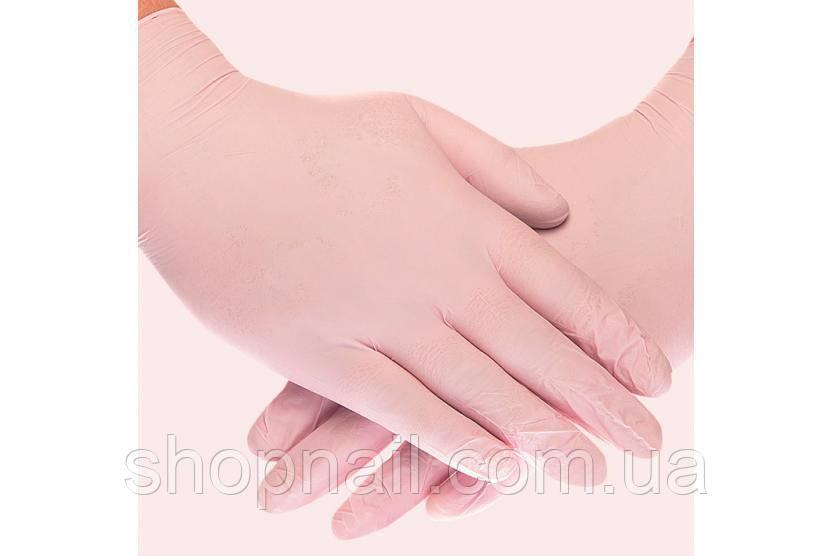 Перчатки нитриловые, розовые, 100 штук в упаковке, размер М